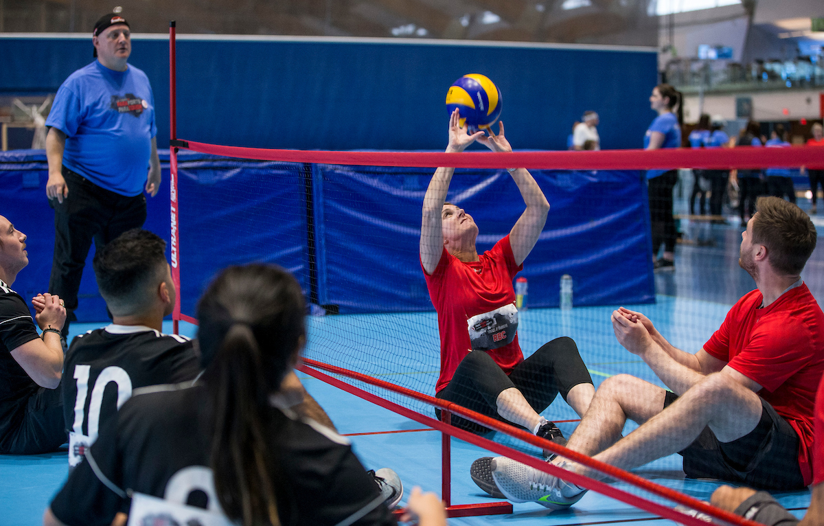 ParaTough Cup participants compete in sitting volleyball.
