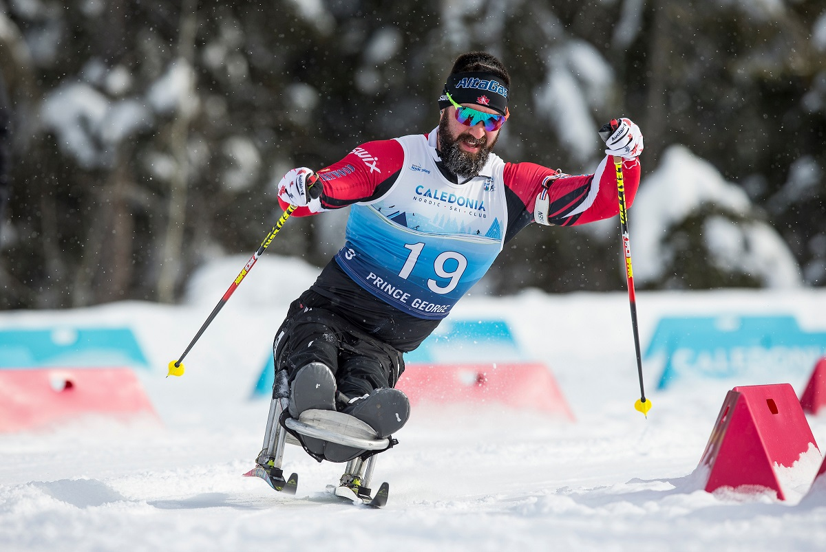 Collin Cameron in action at the 2019 World Para Nordic Skiing Championships