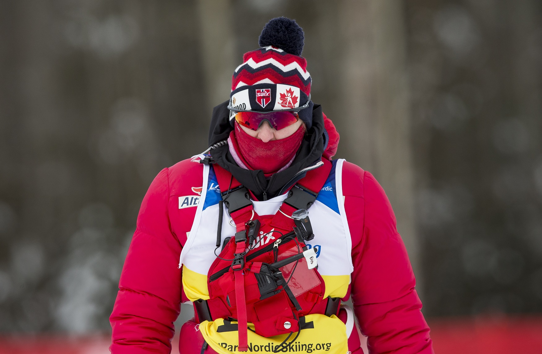 Para nordic coach Kate Boyd on the race course.