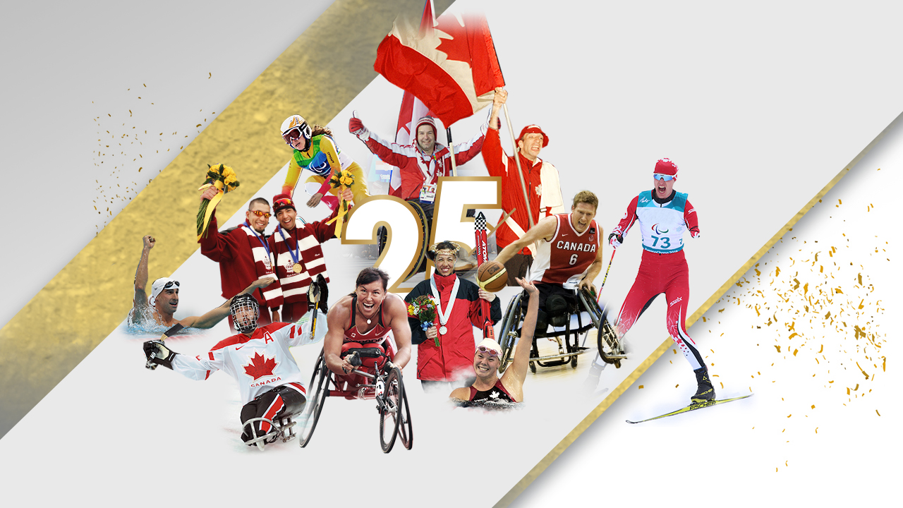 Banner of the number 25 surrounded by athletes