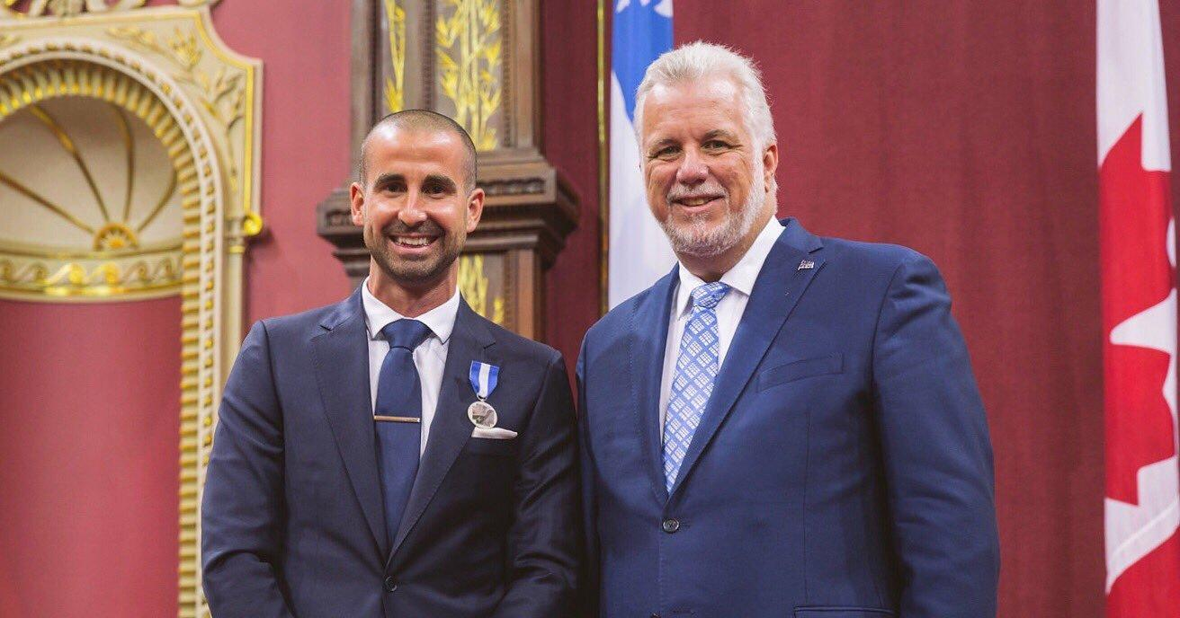 Benoit Huot receiving the order of Quebec