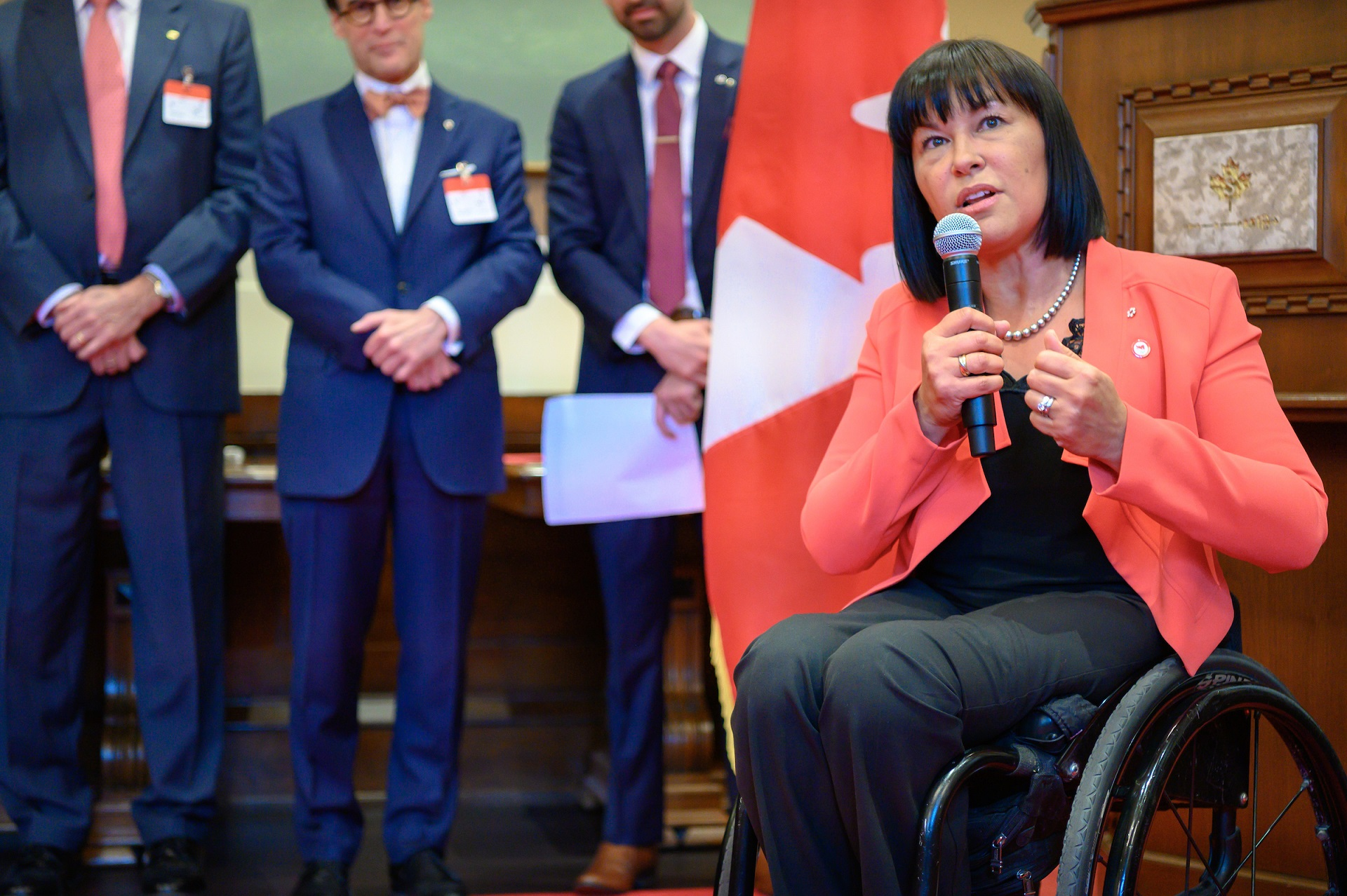 Senator Chantal Petitclerc speaks at the ImagiNation year two event.