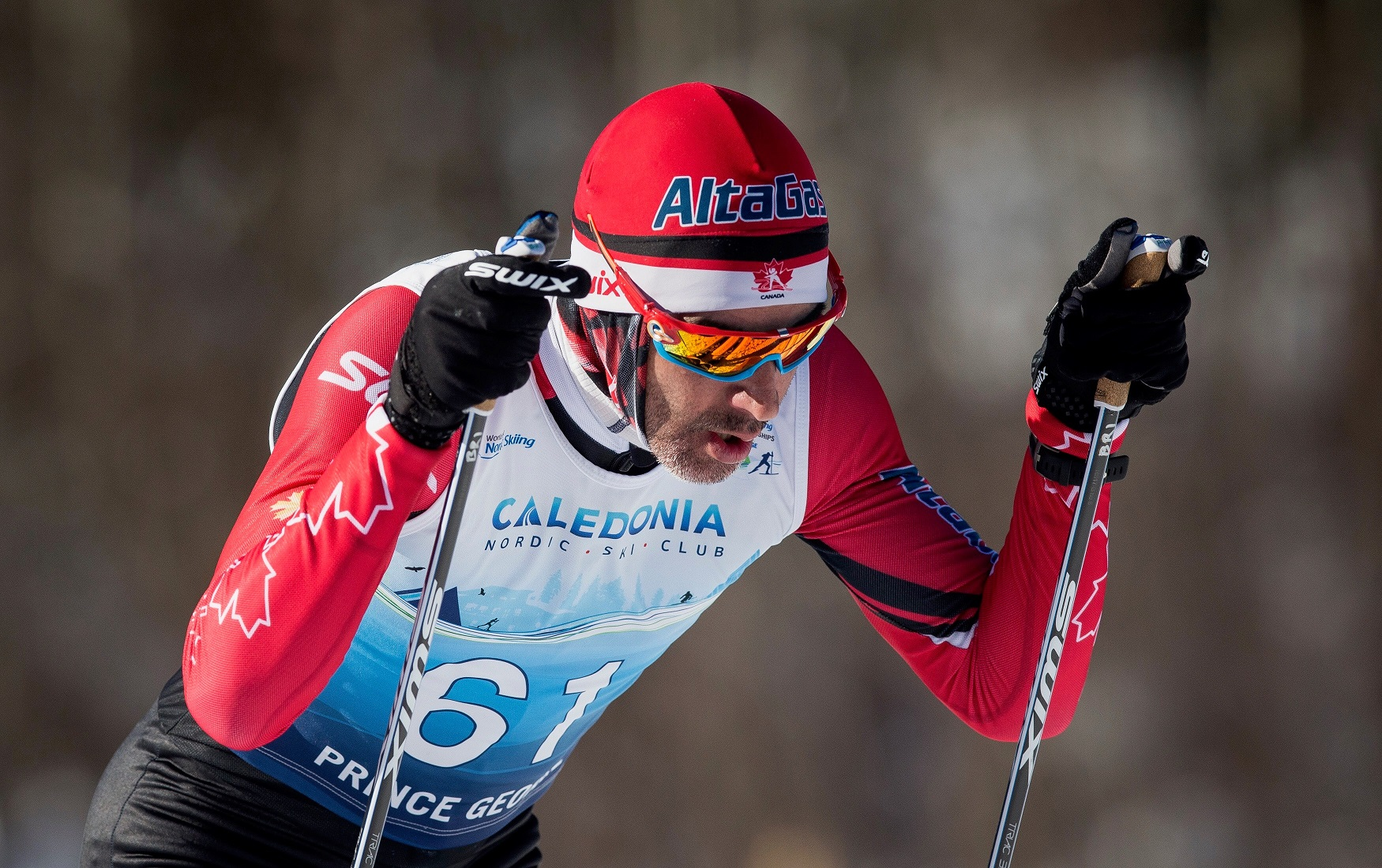 Brian McKeever in action at the 2019 World Para Nordic Skiing Championships.