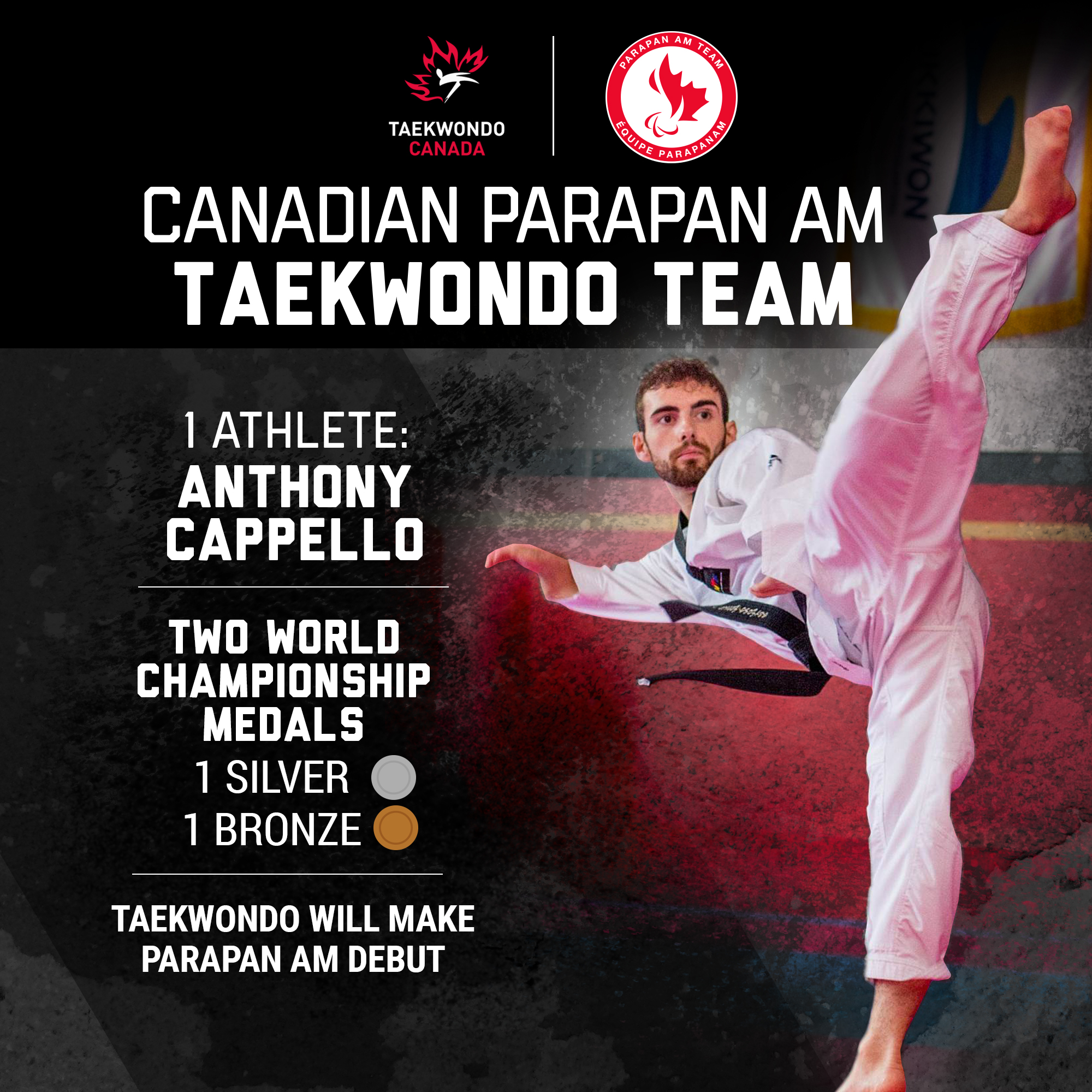 A graphic showing Anthony Cappello's silver and bronze medal at the world championships.
