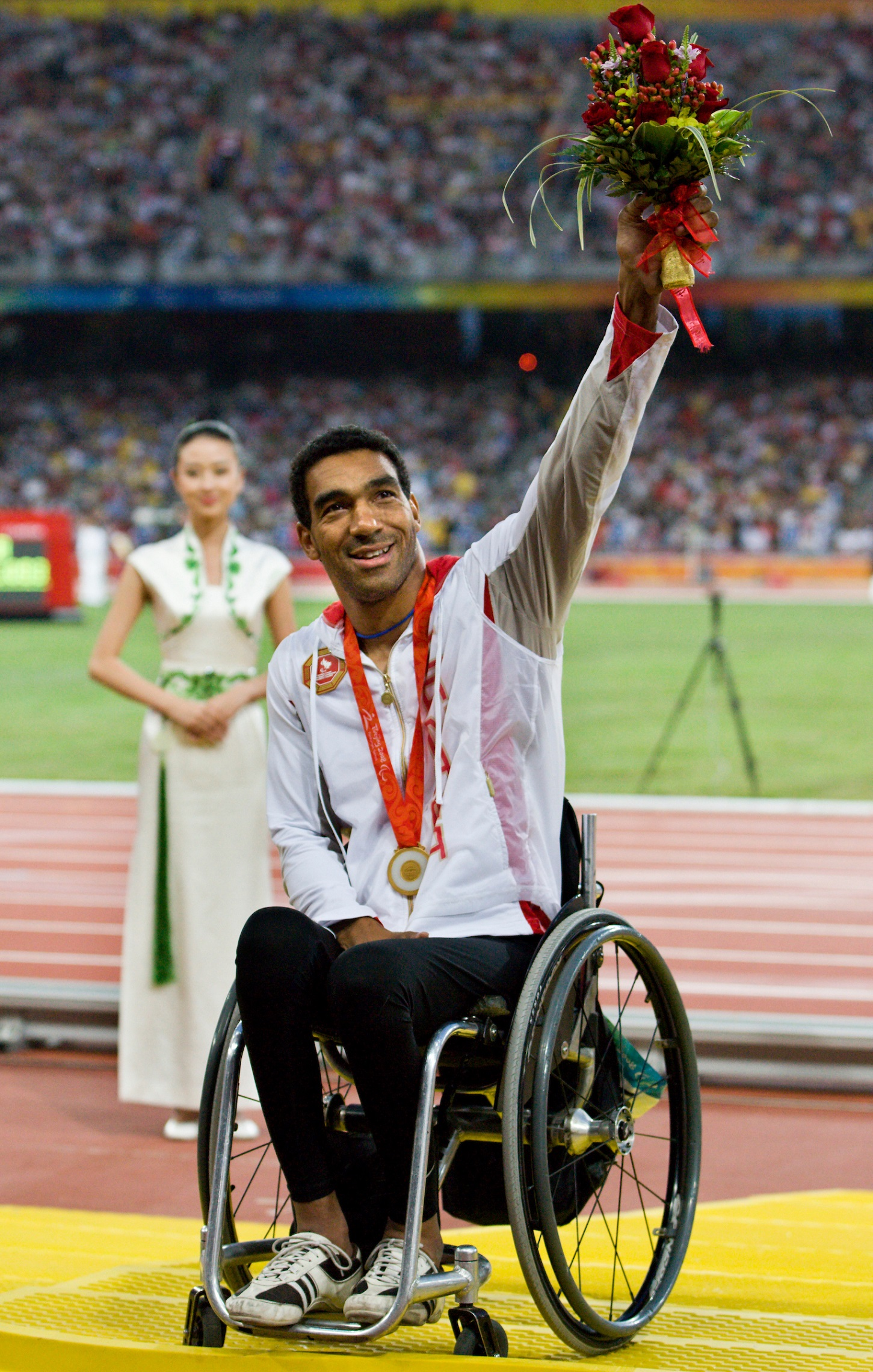 Dean Bergeron on the podium at the Beijing 2008 Paralympic Games