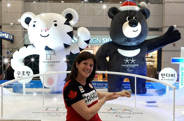 Carolin Viau sits infront of Soorang and Bandabi the PyeongChang Olympic and Paralympic Games mascots