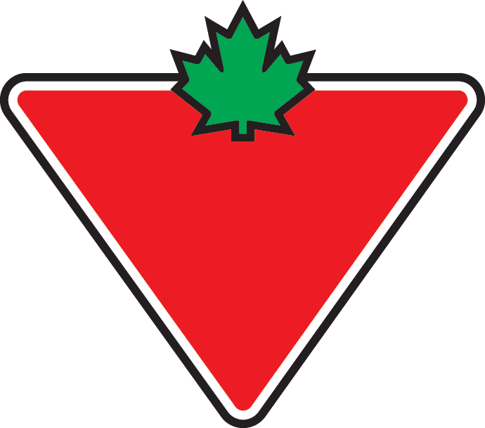 Canadian Tire logo - red upside down triangle with green maple leaf at the top