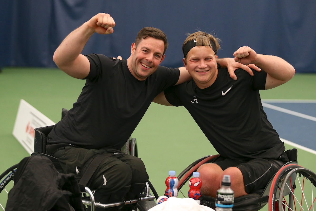 Philippe Bedard (left) and Thomas Venos (right) at the wheelchair tennis national championships.
