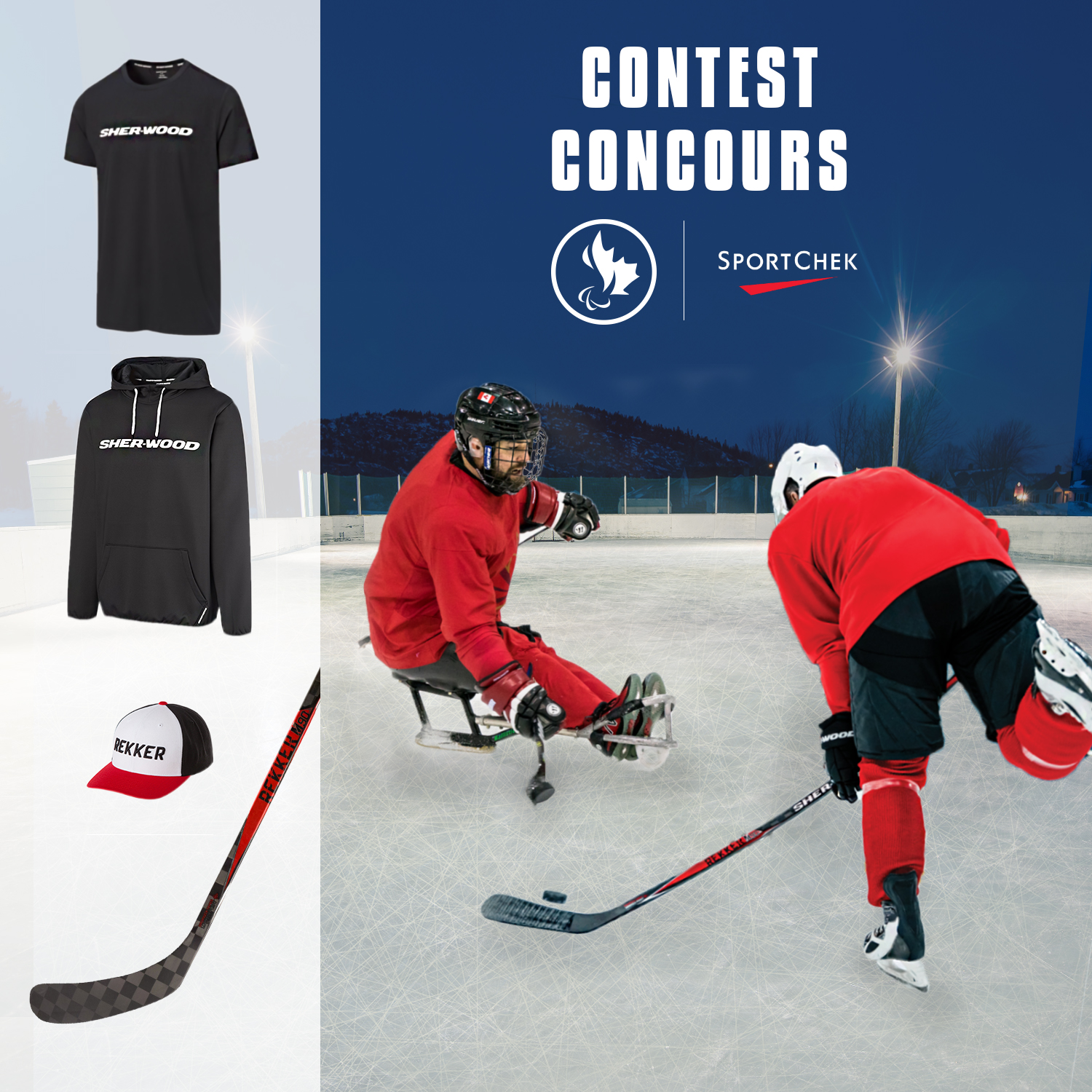 Para ice hockey player and stand up hockey player on the ice with the Sherwood tshirt, hoodie, hat, and hockey stick prizes