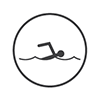 Para swimming - Stick person with arm reaching over their head as they swim (grey and white)