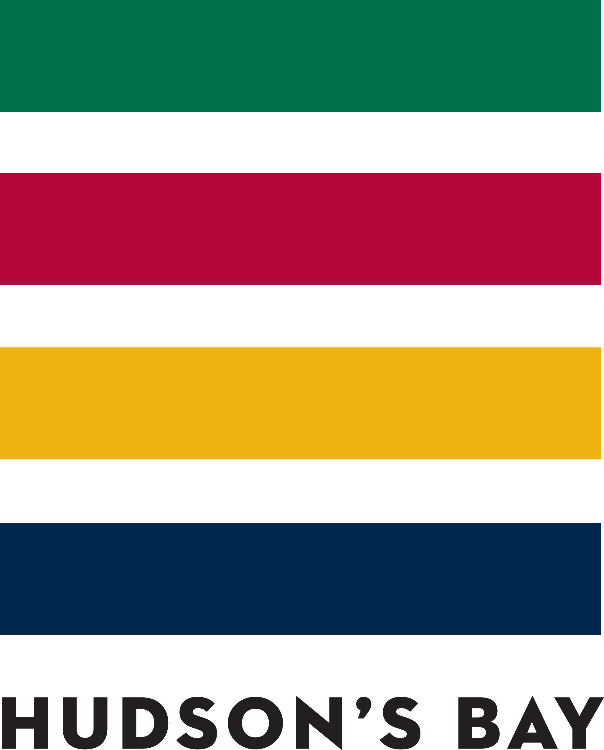 Hudson's Bay Logo - rectangle lines to make a square green at the top followed down by green, yellow and black