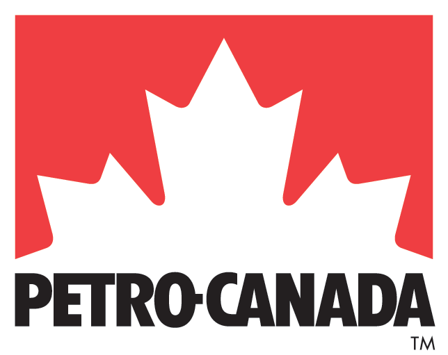 Petro Canada logo - red background with white tips of maple leaf in the foreground