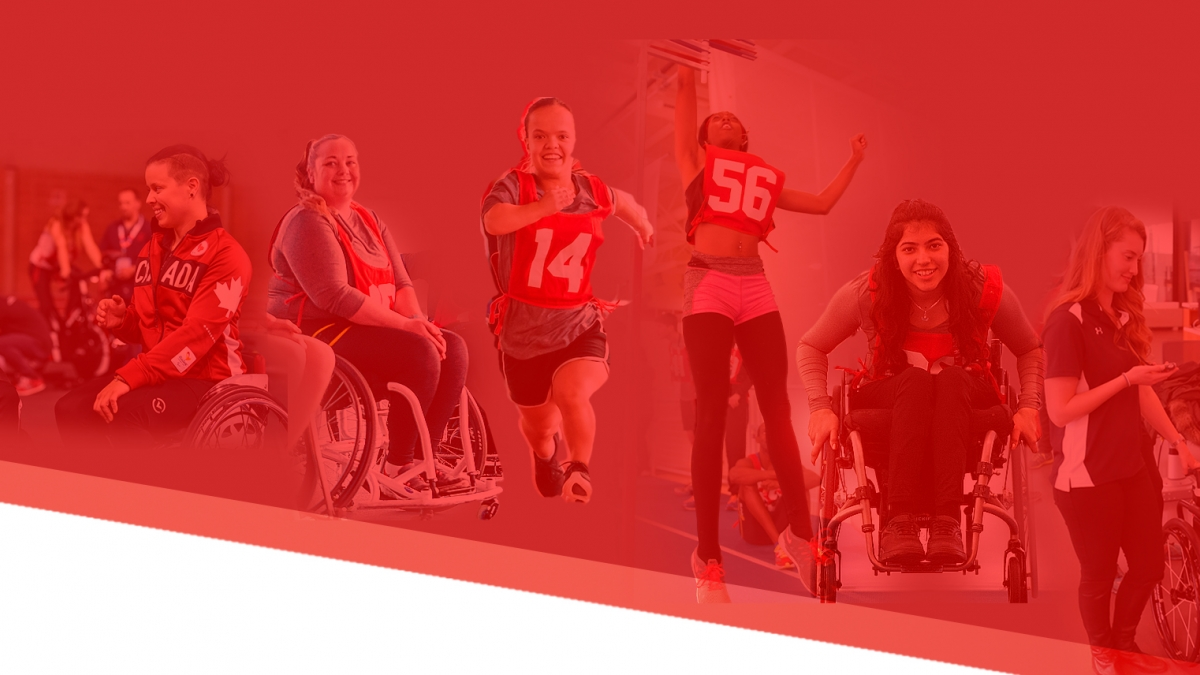 A graphic comprised of female athletes from past Paralympian Search events on a red background