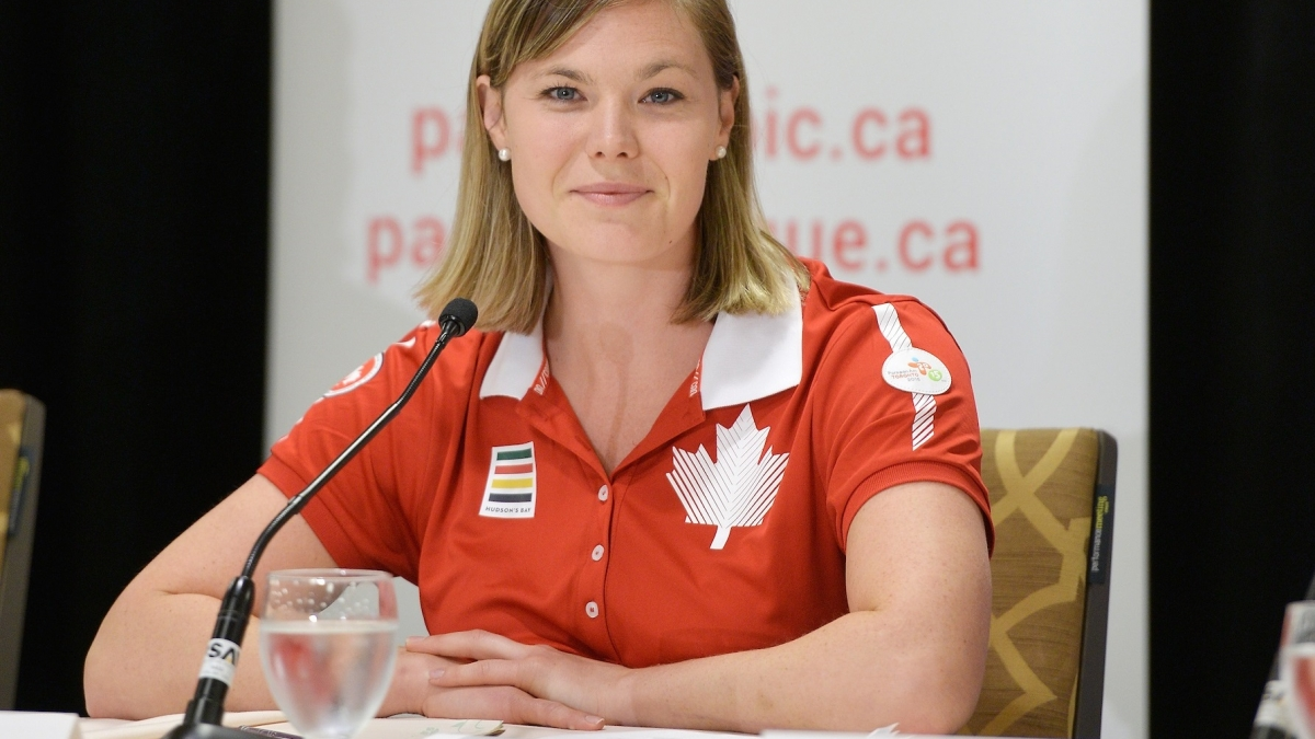 Stephanie Dixon speaking at a press event at the Toronto 2015 Parapan Am Games.