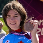Marie-Claude Molnar of Team Canada celebrates her Bronze Medal in the Women's Individual C4 Time Trial at the London 2012 Paralympic Games at Brands Hatch.