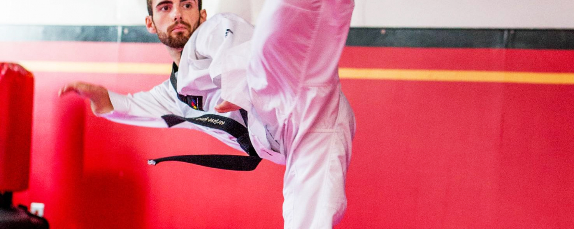 Anthony in a taekwondo pose