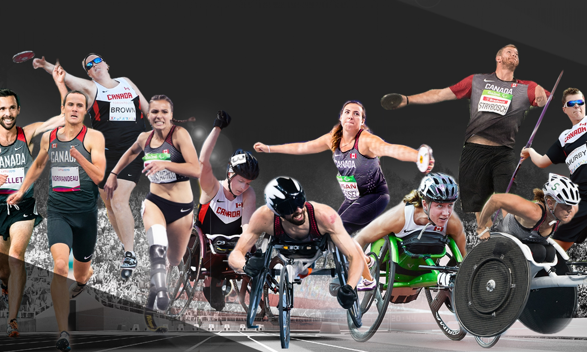 collage of athletics athletes competing