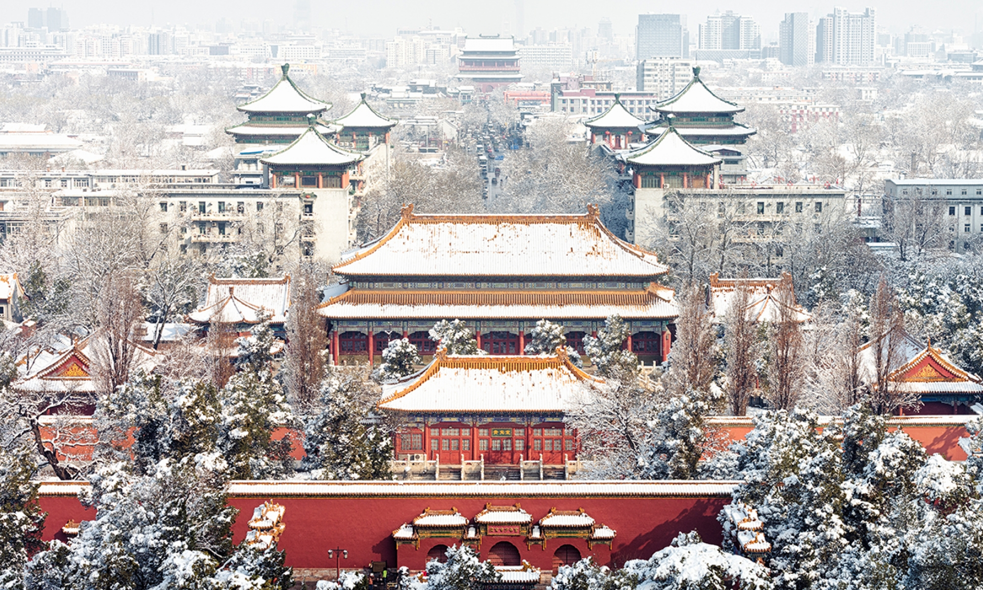 Building in Beijing with snow on the roof