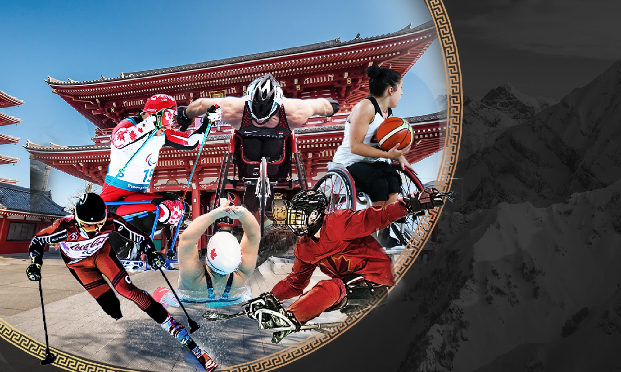 Collage of athletes in front of a Tokyo temple background