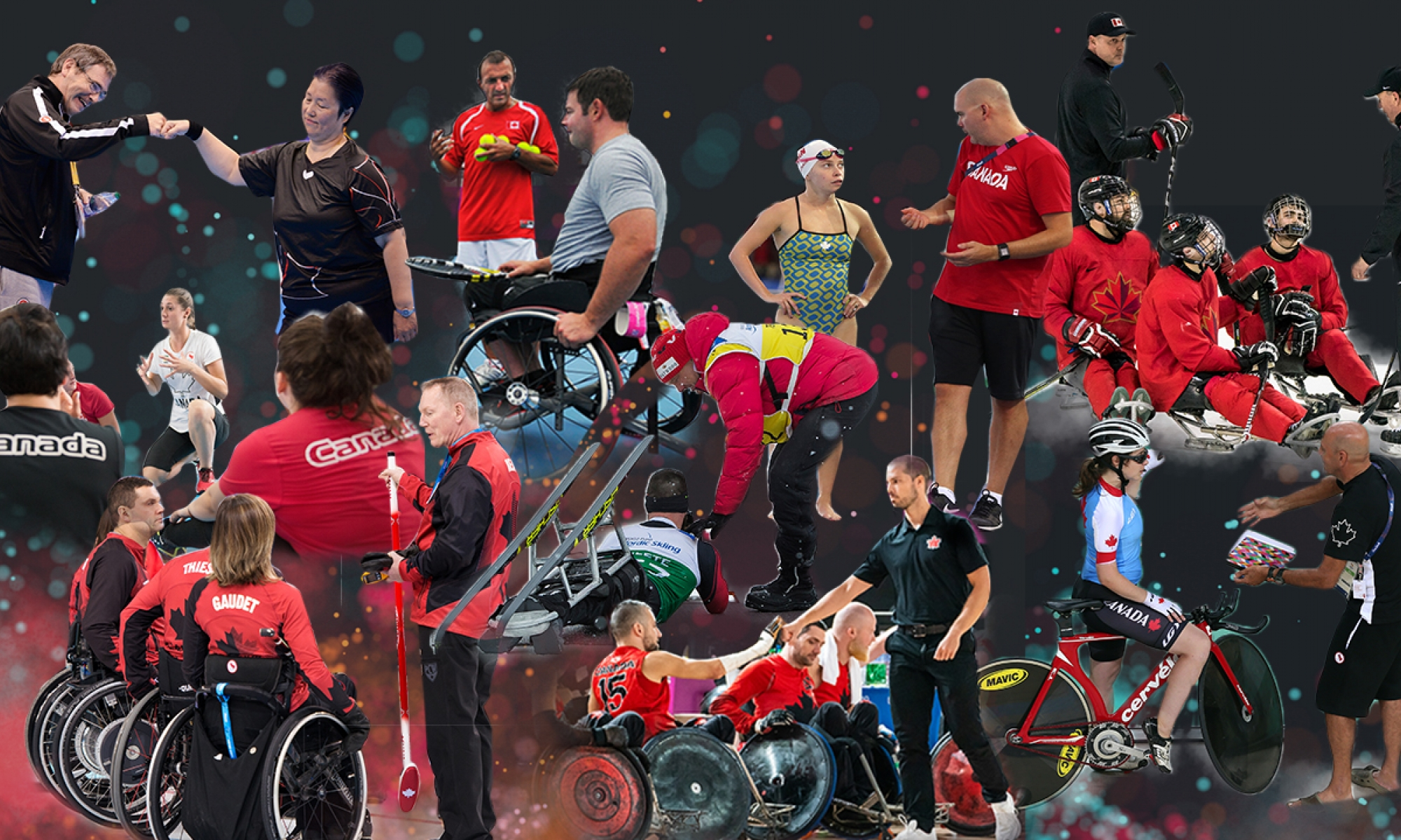 Collage of coaches and athletes