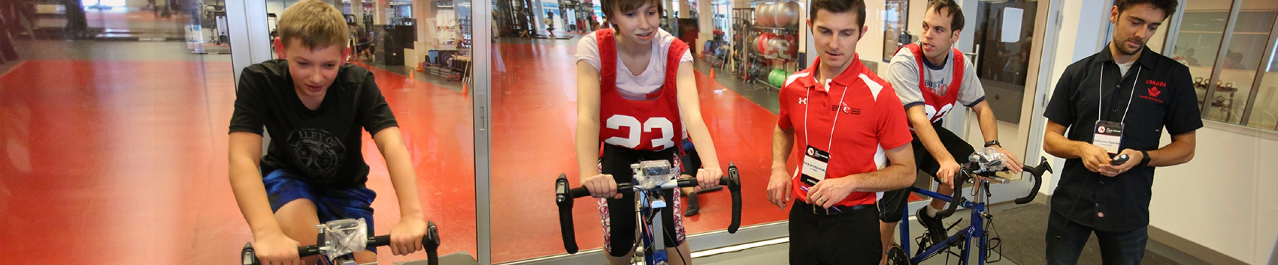 Athletes on stationary bikes