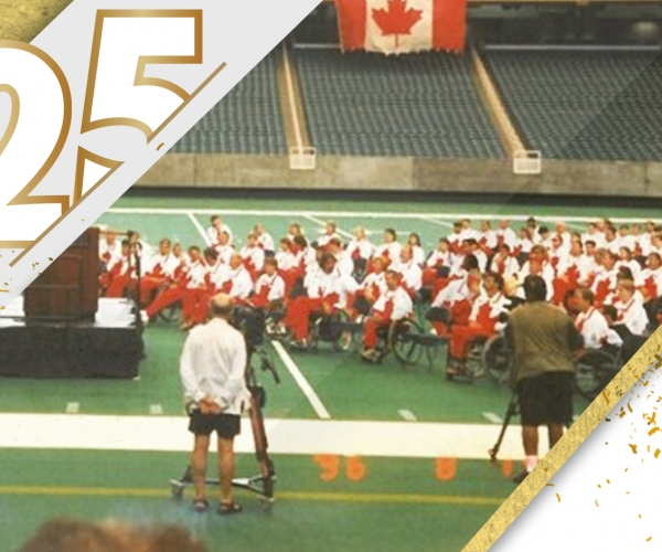 A photo of Canada in the stadium at the 1996 Paralympic Games