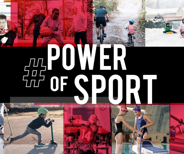A graphic showing different sport examples for #PowerOfSport