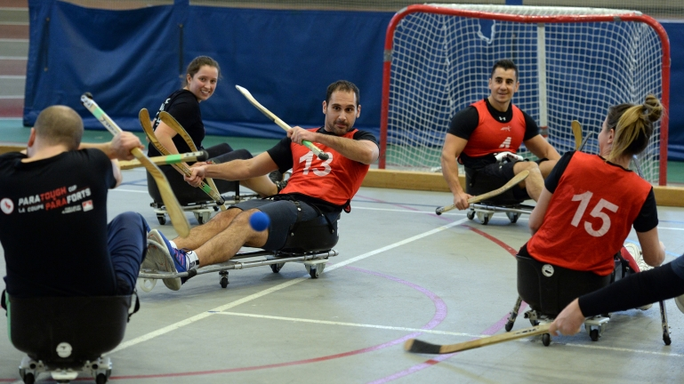 ParaTough Cup participants compete in Para ice hockey.
