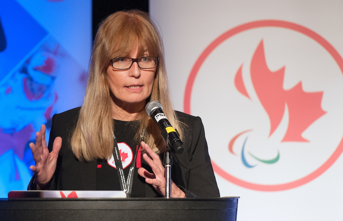 CPC CEO Karen O'Neill speaking at an event