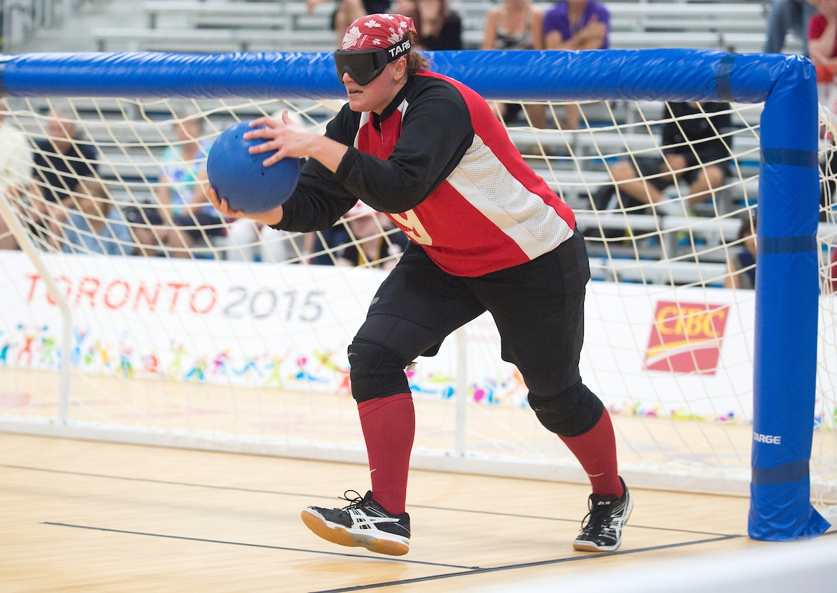 Nancy Morin competes in goalball at the Toronto 2015 Parapan Am Games