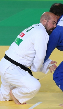 Tony competing in Judo