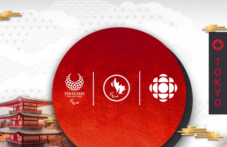 Tokyo 2020 graphic with the Tokyo 2020 logo, Canadian Paralympic Committee logo, and CBC/Radio-Canada logo