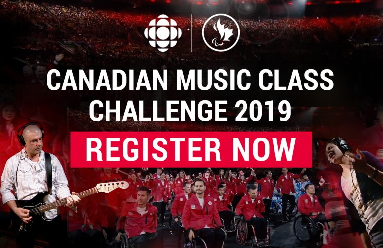 Canadian Music Class Challenge 2019: register now. Image collage of athletes and musicians