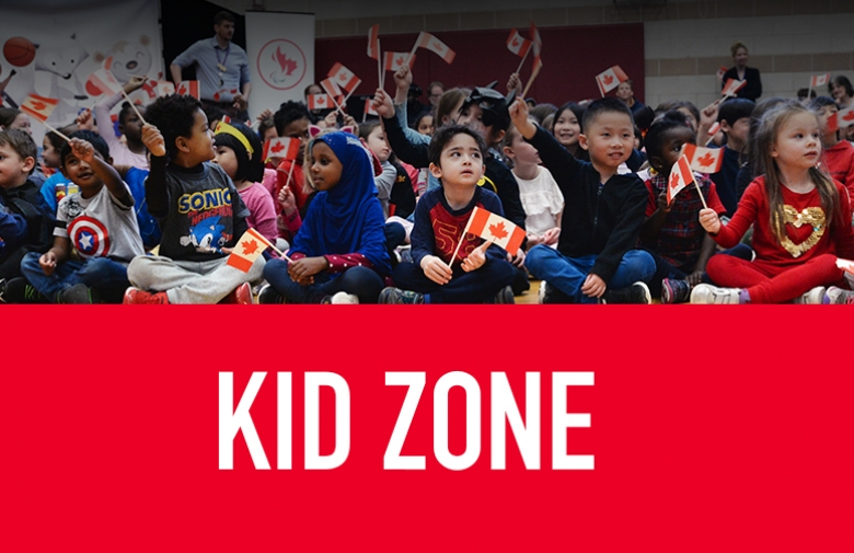 Kid Zone text with an image of school kids