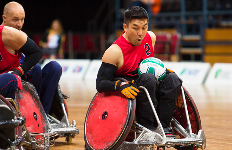 Travis Murao competes for Canada at the 2018 wheelchair rugby world championships