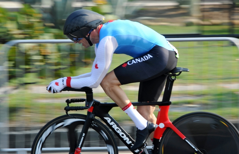 Tristen Chernove competing in the road race at the Rio 2016 Paralympic Games