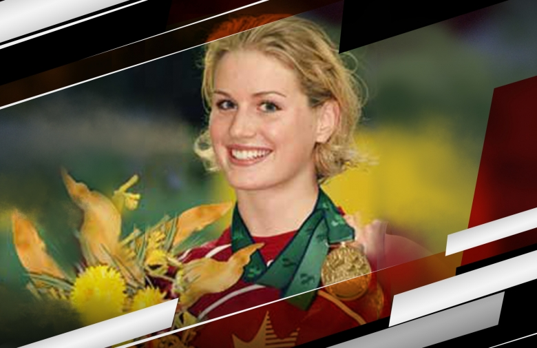 An image of Jessica Sloan with medals around her neck