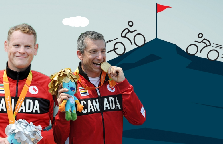 Ross Wilson and Tristen Chernove in their Team Canada gear from Rio 2016 in a graphic showing cyclists riding to the top of a mountain