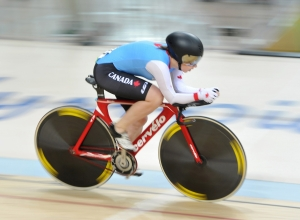 Para cyclist Marie-Claude Molnar races at the Rio 2016 Paralympic Games.