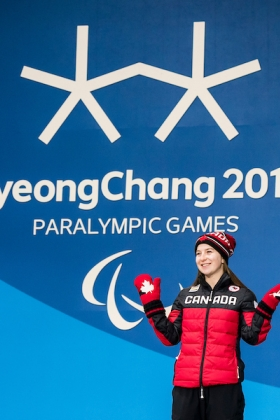 Mollie Jepsen collecting her bronze medal on Day in PyeongChang